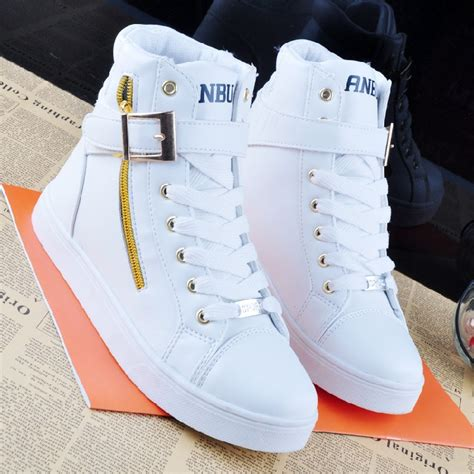 spring fashion high solid color zip lovers sneakers