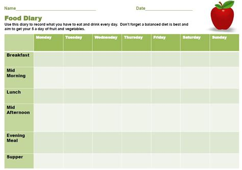 ibs food journal printable 11 free sle food log templates printable sles