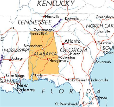 alabama in usa map map of alabama in the usa