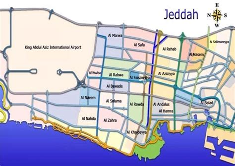 Printable Jeddah Road Map | printable map of jeddah city maps free printable maps