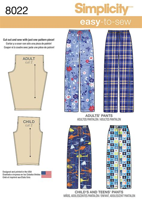 pattern sewing simplicity simplicity 8022 child s teens and adults pants