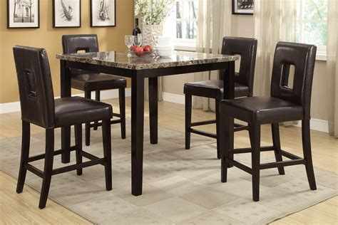 Counter High Dining Table Sets by 5pc Rex Ford Brown Marble Top Counter Height Dining