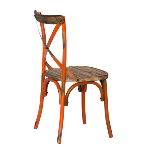 Rustic Metal Dining Chairs Rustic Orange Metal Dining Chair Ch0282 2