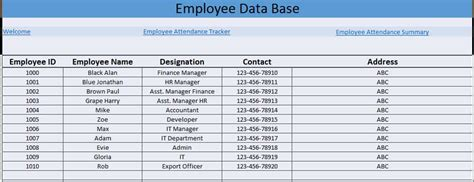 excel template employee information printable employees attendance sheet in excel format