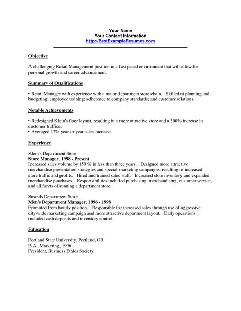 career objective exles for retail resume retail resume objective sle resume ideas