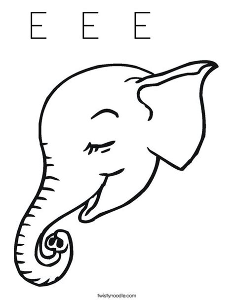 coloring page elephant head e e e coloring page twisty noodle