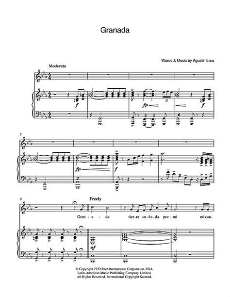 granada sheet by luciano pavarotti piano vocal guitar 39224