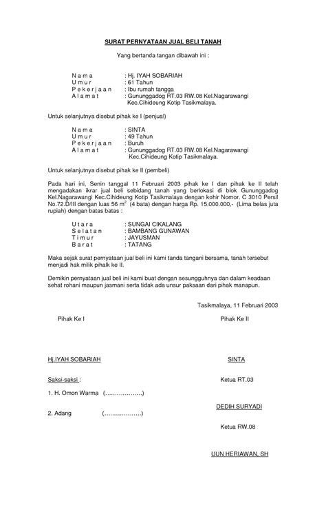 Contoh Surat Perjanjian Jual Beli Tanah Dan Rumah Malaysia