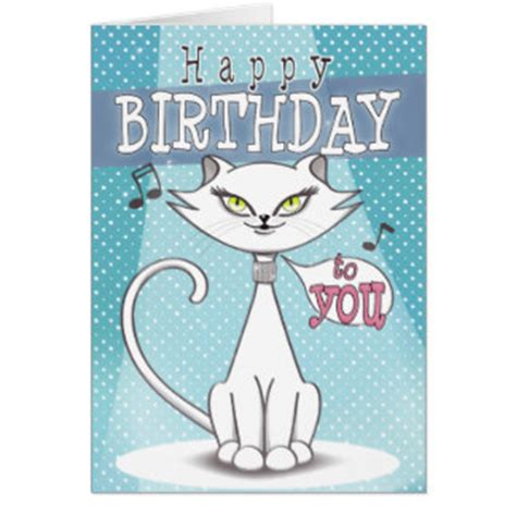 Happy Birthday Cat Card Cat Singing Happy Birthday Gifts On Zazzle