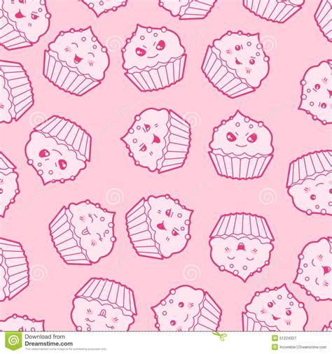 cute cartoon pattern seamless kawaii cartoon pattern with cute cupcakes stock