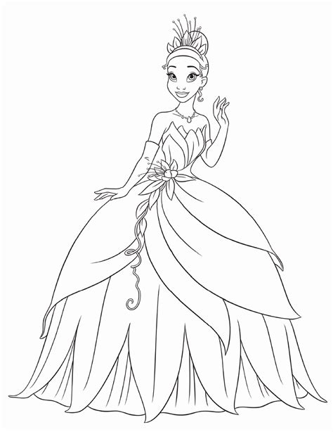 Coloring Pages Princess Tiana | princess tiana and the frog coloring pages free