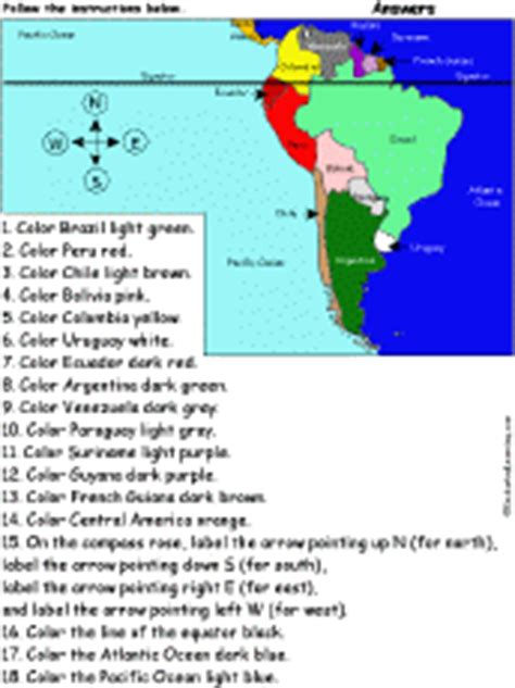 south america map answers map reading activities enchantedlearning