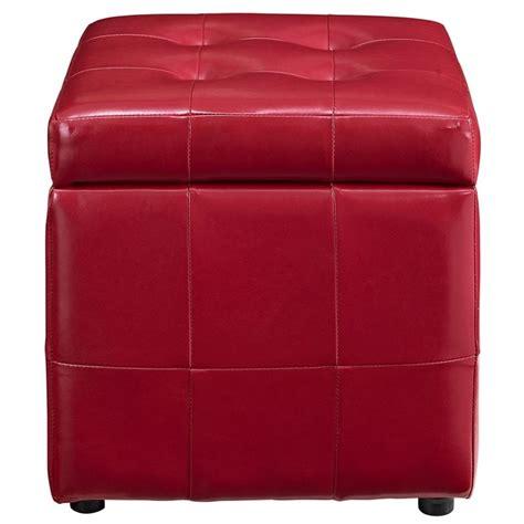 Modway Volt Square Faux Leather Storage Ottoman In Red Square Leather Storage Ottoman