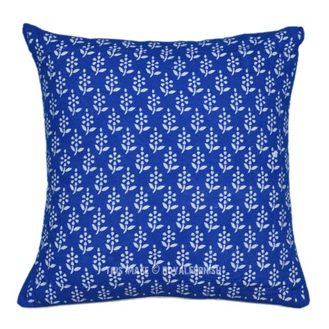 Printed Throw Pillows by 16 Quot Blue Floral Block Printed Decorative Accent Throw