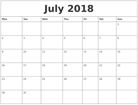 printable calendar 2018 monthly july 2018 print monthly calendar
