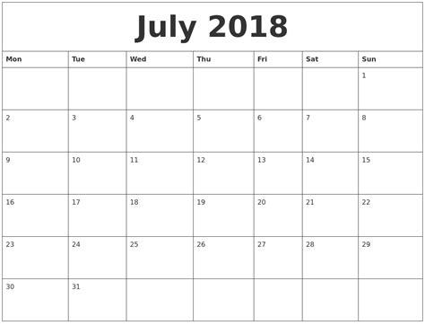 july print monthly calendar