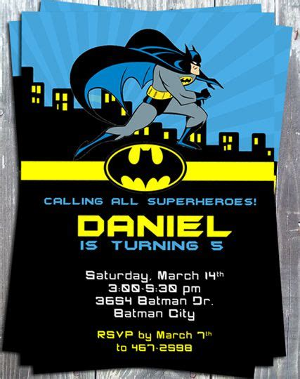 25 best ideas about batman invitations on pinterest
