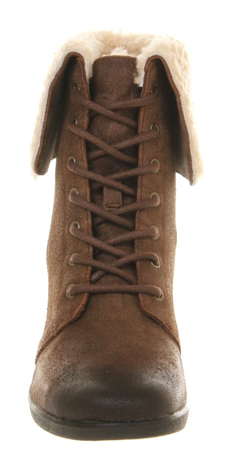 ugg lace up boots ugg zea shearling wedge lace up boots in brown chocolate
