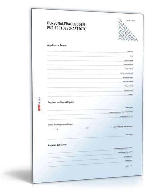 Kostenlos Musterbriefe Herunterladen Personalfragebogen Festbesch 228 Ftigte Muster Zum