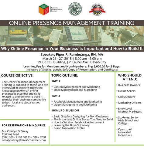 Online Tutorial Davao | online presence management training march 26 27 davao