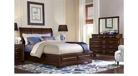 cherry king bedroom set mill valley ii cherry 7 pc king sleigh bedroom traditional