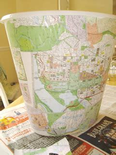 Decoupage Trash Can - shknits decoupage map trash can