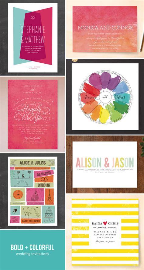 colorful wedding invitations bold colorful modern wedding invitations invitation crush