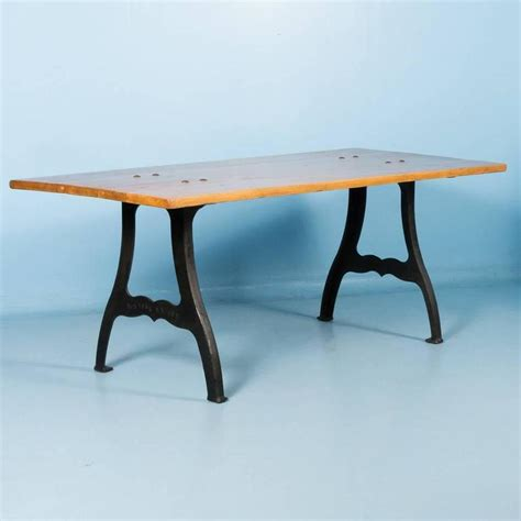 Dining Table Iron Legs Antique Pine Dining Table With Cast Iron Legs For Sale At 1stdibs