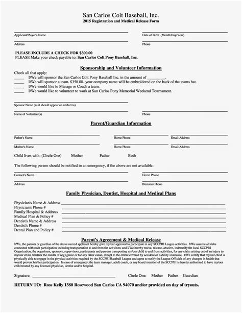 player registration form template san carlos pony baseball