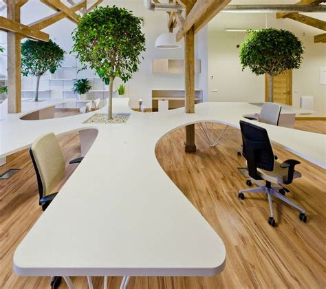 Office Desk Tree Modern Working Space Featuring Living Trees And Unique