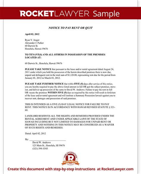 Hawaii Eviction Notice Form Hawaii Eviction Notice Sle Eviction Notice Hawaii Template
