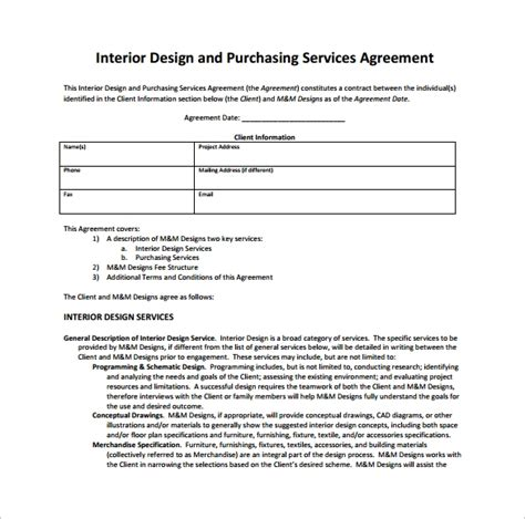 11 Interior Design Contract Templates To Download For Free Sle Templates Design Services Contract Template