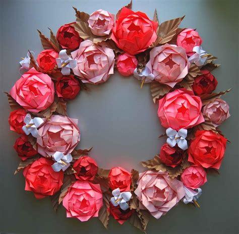 Origami Paper Roses - origami rosette paper wreath wreath ideas