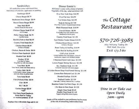 The Cottage Restaurant Menu The Cottage Restaurant Lamar Pa