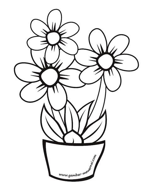Mewarnai Bunga Dalam Pot - Contoh Gambar Mewarnai