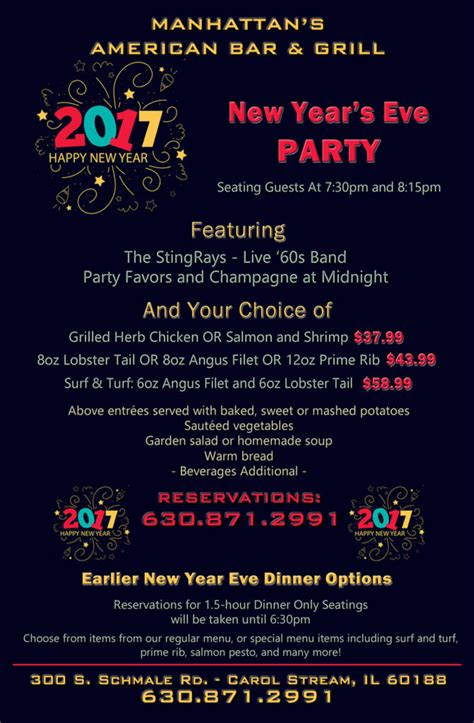 menus for new years spend new year s with the stingrays at manhattan s restaurant in carol il