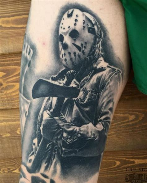 tattoo jason wonderful grey ink jason holding axe tattoo on arm sleeve