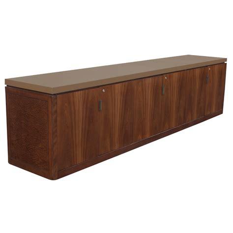 credenza cabinet 116 quot vintage burl walnut leather cabinet credenza ebay