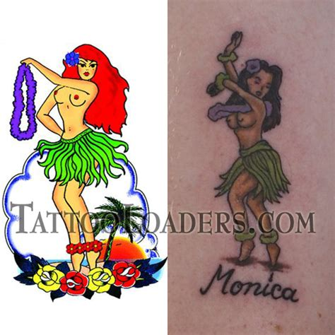 hula girl tattoo temporary hula loaders