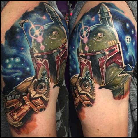 first session on boba fett star wars tattoo by josh bodwell
