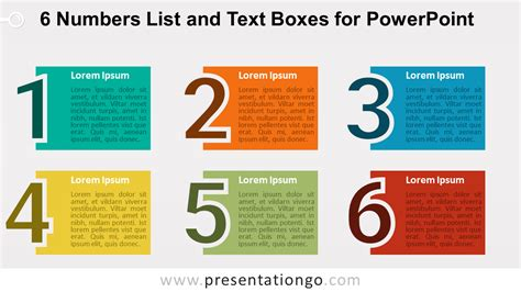 powerpoint template show 6 numbers list and text boxes for powerpoint