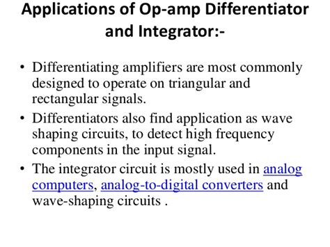 integrator and differentiator circuit using op integrator and differentiator op
