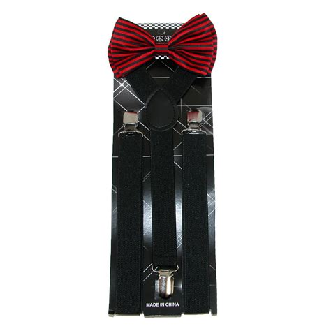 Print Bow Tie mens stripe print bow tie with solid suspender set by ctm