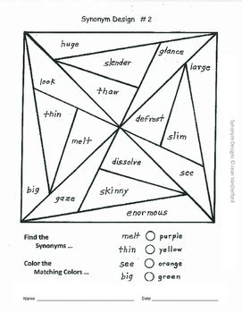 color pattern synonym vocabulary worksheets synonym practice color by words