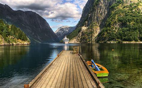 gunung wallpaper alam danau hd layar lebar definisi