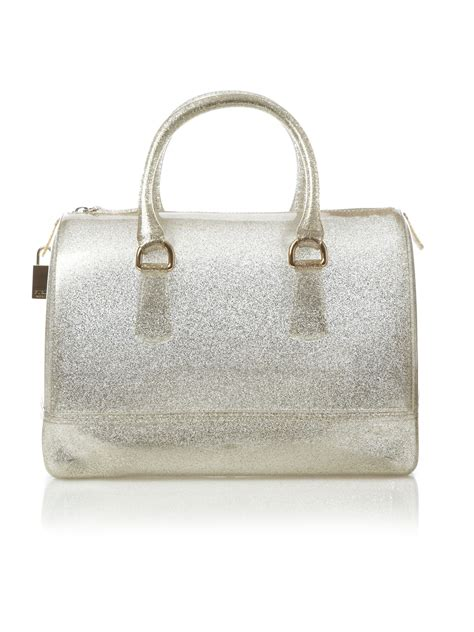 furla jelly by ifa shop furla glitter gold jelly bowler in gold lyst