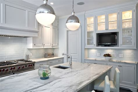 white glass subway tile kitchen modern with backsplash