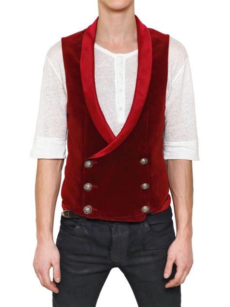 breasted vest balmain satin and velvet breasted vest in for