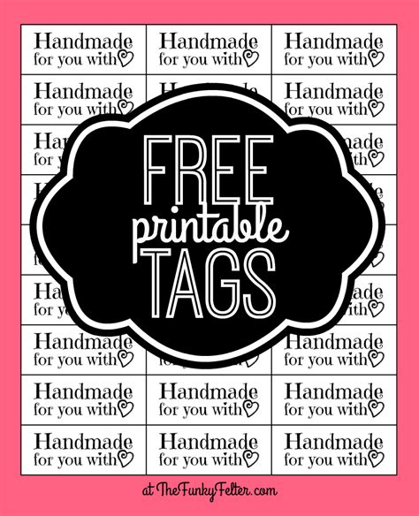 printable craft tags the funky felter free printable quot handmade for you with