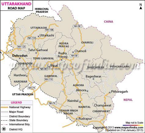 printable road map of india uttarakhand road map